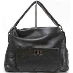 CHANEL Black Lambskin Leather QUILTED 8 KNOTS Hobo Shoulder Mademoiselle