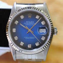 Rolex Datejust RARE Blue Vignette Diamond Dial-ALL FACTORY