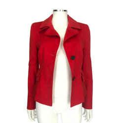 Akris Punto Red Two-button Jacket Double-flap Pocket Blazer Sz 6