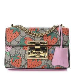 GUCCI GG Supreme Monogram Strawberry Small Padlock Shoulder Bag 409487