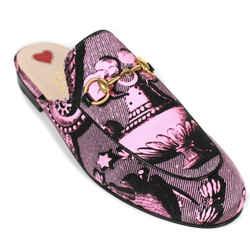 Gucci - New - Princetown Slipper Slides - Pink Black Horsebit Mule - US 6 - 36