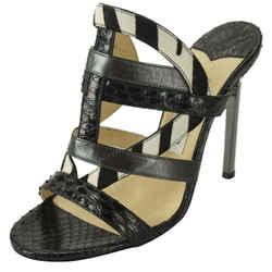 Jimmy Choo Black Multi Leather Vanisa Strappy Slide Sandals Size 37 Heel Mule