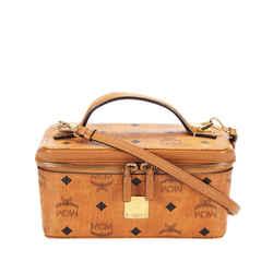 Vintage Authentic MCM Brown Calf Leather Visetos Vanity Bag Germany w/ Dust Bag