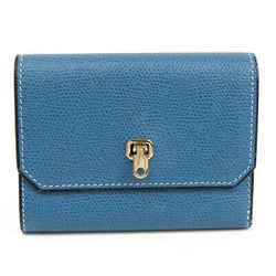 Valextra V9l28 Women's  Calfskin Wallet (tri-fold) Blue Bf507711