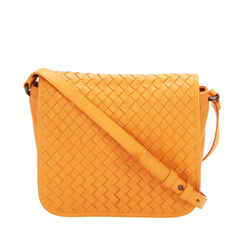 Vintage Authentic Bottega Veneta Orange Intrecciato Leather Crossbody Bag Italy