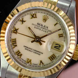 ROLEX Ladies 18kt Gold & SS 26mm DateJust Factory Ivory Dial W/Box & Papers