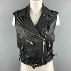 Paul Smith Size S Black Textured Leather Biker Vest
