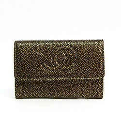 Chanel Coco Mark Caviar Leather Card Case Black,Gold BF515895