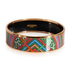 Hermes Du Vent L Folk Rose Gold Plated Painted Enamel Bangle