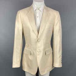 ROBERTO CAVALLI Size 40 Beige Animal Print Silk Notch Lapel Sport Coat