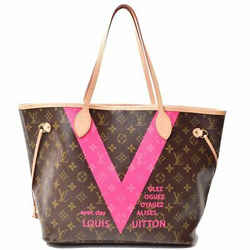 Auth Louis Vuitton Monogram V-line Neverfull Mm Tote Bag Leather