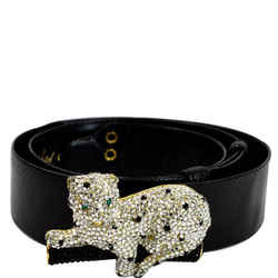 JUDITH LEIBER Crystal Encrusted Leather Panther Buckle Belt Black Size 35