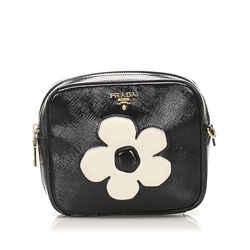Vintage Authentic Prada Black Saffiano Vernice Crossbody Bag Italy