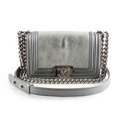 Chanel Galuchat Stingray Small Boy Flap Silver