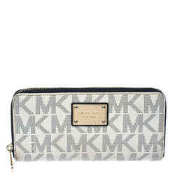 Michael Kors White Monogram Coated Canvas Zip Around Wallet