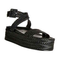 Sonia Rykiel Black Braided Ankle Strap Flatform Sandals