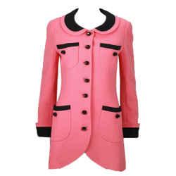 CHANEL Circa 1990s Pink & Black Trim Tulip Jacket or Mini-Dress