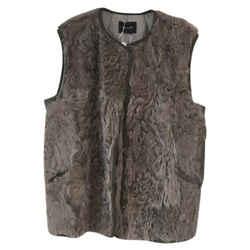 Isabel Marant Gray Linka Curly Lambskin Gilet Fur Vest Size: 12 (L)