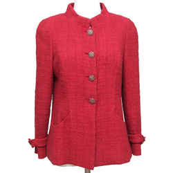 CHANEL Jacket Blazer Coat Tweed Dark Red Gripoix Buttons Pre Fall 2012 Bombay Sz 40