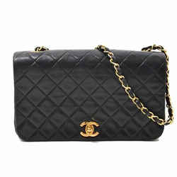 Auth Chanel Lambskin Single Matrasse Chain Shoulder Gold Hardware Leather