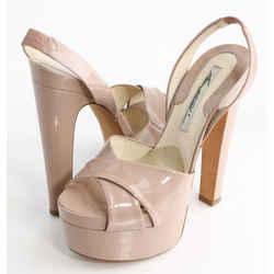 Brian Atwood Manhattan Patent Leather Slingback Platform Sandals