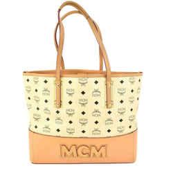 """MCM: Beige, """"Visetos"""" Logo & Tan Leather Shoulder/ToteBag (mx)"""