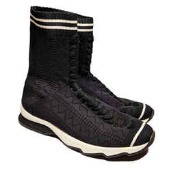 Fendi Black Rockoko High Top Sock Knit Sneaker Boots US 8.5 / EU 38.5