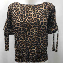 Michael Kors Brown Leopard Blouse XS