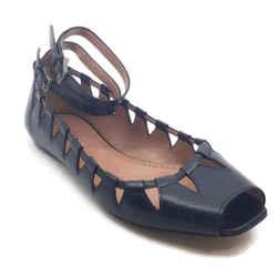 AlaIa Black Laser Cut Peep Toe Flats