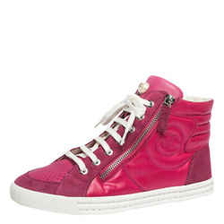 Chanel Pink Leather, Suede And Nylon CC Pearl Double Zipper High Top Sneakers