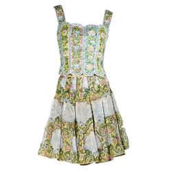 Multicolor Vintage Valentino Floral Skirt Set