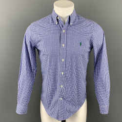 RALPH LAUREN Size S Blue & White Checkered Cotton Button Down Long Sleeve Shirt