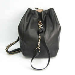 Jimmy Choo Women's Leather Backpack,Shoulder Bag Black BF520200