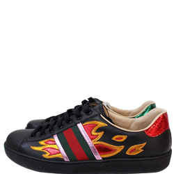 Gucci Ace Low-top Flames Sneaker Black 440724 Us 7.5