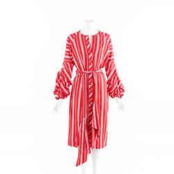 Johanna Ortiz Santa Fe Striped Linen Belted Midi Dress SZ 8