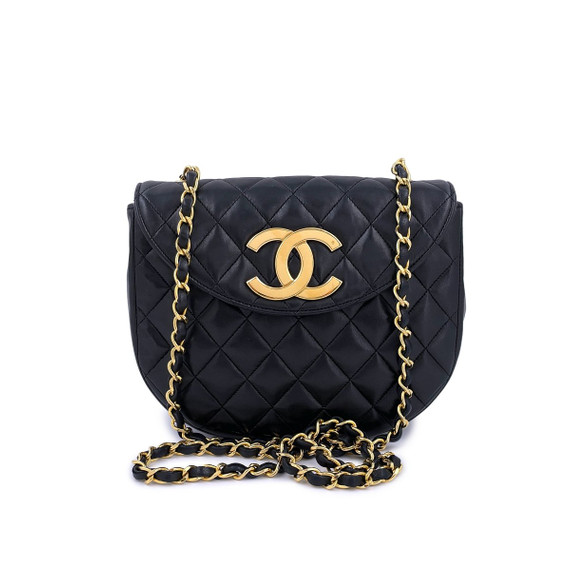 Chanel Vintage Black Round Mini Flap Bag With Oversized Cc 24k Ghw