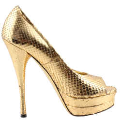 Versace Metallic Gold Snakeskin Open-toe Platforms