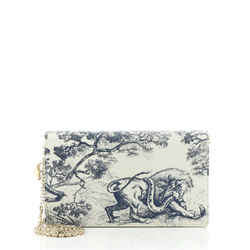 Toile De Jouy Clutch with Chain Printed Leather