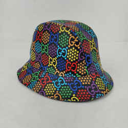 Gucci Psychedelic Black Coated Canvas Fedora Gg Star Print Hat M/58 604781