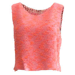 Chanel  Vintage Orange and Pink Tweed Cropped Blouse