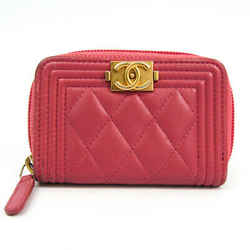 Chanel Boy Chanel A80602 Women's Leather Coin Purse/coin Case Pink BF521431