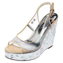 Chanel PVC Metallic Silver Textured Wedge Heel Peep Toe Slingback Sandals Size