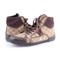 Gucci Mens Stripe Hightop Sneakers Shoes Brown Us-10.5 Authenticity Guaranteed