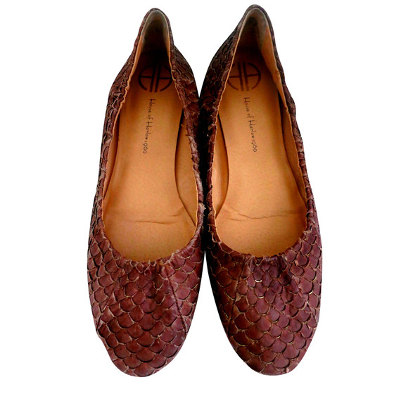 House Of Harlow Brown Snakeskin Ballet Flats
