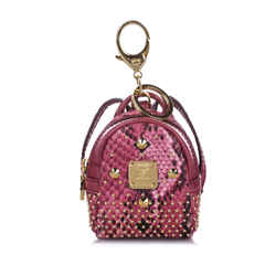 Vintage Authentic MCM Pink  Leather Studded Visetos Backpack Key Chain KOREA