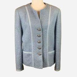 Light-blue Wool Boucle Jacket