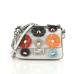 Double Baguette Flower Studded Leather Micro