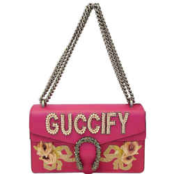Gucci Dionysus Guccify Grained Leather Shoulder Bag Pink