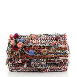 Pom Pom CC Flap Bag Quilted Tweed Jumbo