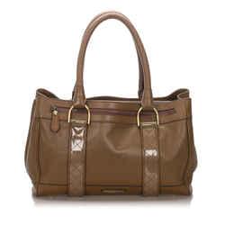 Vintage Authentic Burberry Brown Calf Leather Shoulder Bag United Kingdom